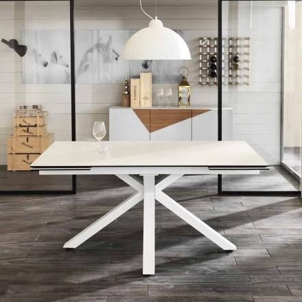 Wysuwany stół ze szkła ceramicznego, l.160 / 240xp.90 cm, Bacco