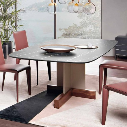 Stół do jadalni z ceramicznym blatem Made in Italy - stół krzyżowy Bonaldo