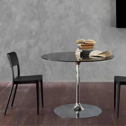 Stół do jadalni z kryształowym blatem i chromowaną podstawą Made in Italy - Tallio