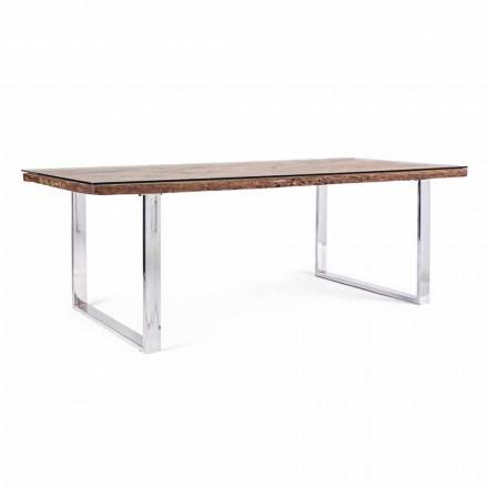 Stół do jadalni Homemotion z blatem z drewna i szkła hartowanego - Blanco