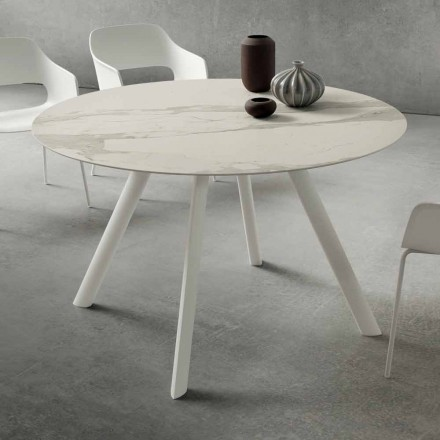 Stół do jadalni z okrągłym blatem laminowanym Made in Italy - Lingotto