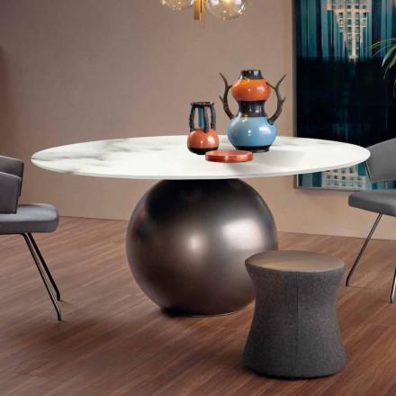 Stół do jadalni z okrągłym blatem z matowego marmuru Made in Italy - Bonaldo Circus