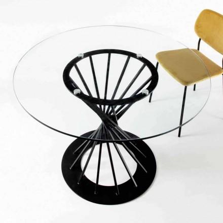 Stół do jadalni z okrągłym blatem ze szkła hartowanego i stalową podstawą - Mileto