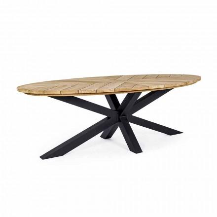 Stół ogrodowy z owalnym blatem z drewna tekowego, Homemotion - Selenia