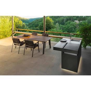 Stół ogrodowy z drewna i aluminium Iroko - domek marki Talenti