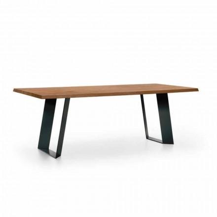 Zaprojektuj stół jadalny z jodły z czarnymi metalowymi nogami Made in Italy - Kroma