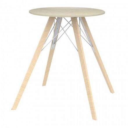 Okrągły stół do jadalni z drewna i 4 elementów Dekton - Faz Wood firmy Vondom