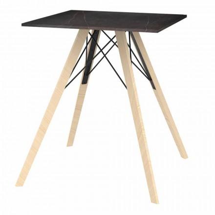 Zaprojektuj stół do jadalni z drewna i kwadratu Dekton 4 sztuki - Faz Wood firmy Vondom