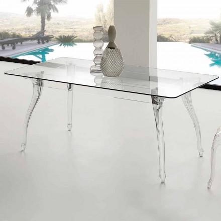 Stół do jadalni nowoczesny z szkło hartowaneowym blatem Jinny