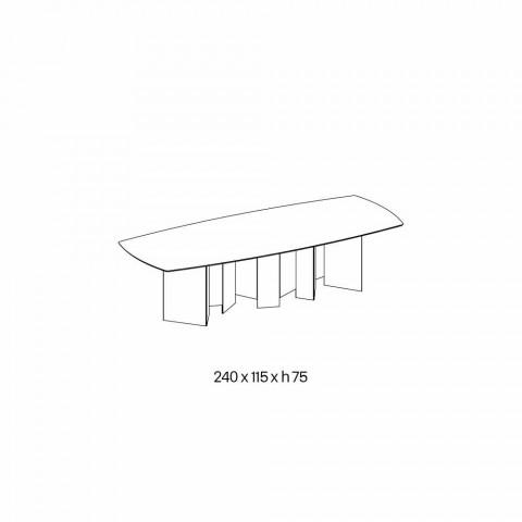 Designerski stół do jadalni w ceramicznej i wędzonej bazie szklanej Made in Italy - Random
