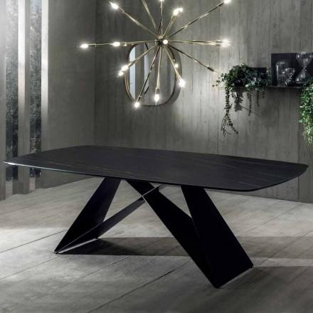 Designowy stół jadalny z ceramiki z efektem portoro i matowego metalu - Falcon