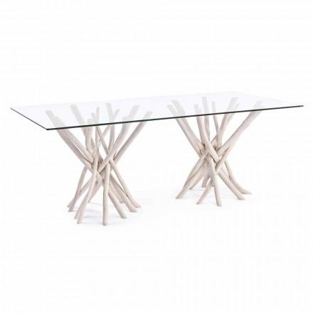 Zaprojektuj stół do jadalni ze szkła i bielonego drewna tekowego Homemotion - Francja