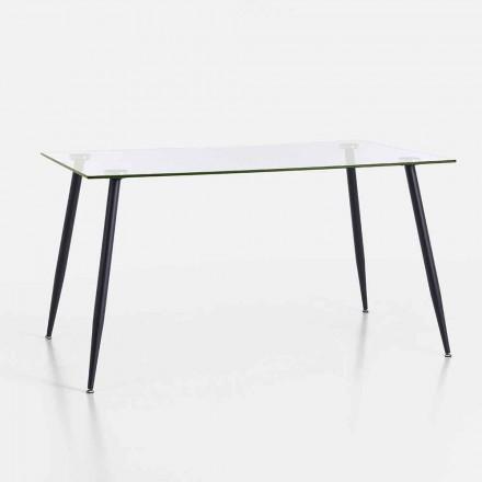 Stół do jadalni o nowoczesnym designie ze szkła hartowanego i czarnego metalu - Foulard