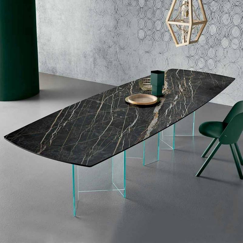 Ceramiczny stół jadalny i wyjątkowo lekka szklana podstawa Made in Italy - Random