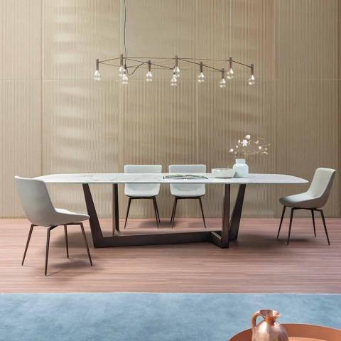 Brązowy ceramiczny i metalowy stół wykonany we Włoszech - art