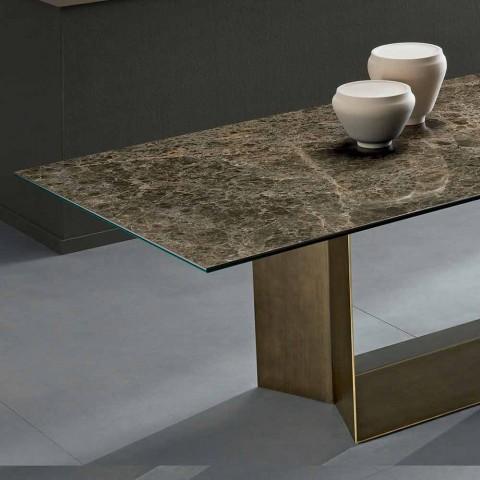 Ceramiczny stół z brązu i Emperador wykonany we Włoszech - ciemny brąz