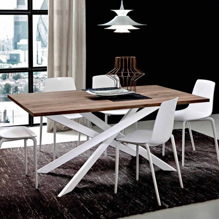 Stół do jadalni HPL z metalową podstawą Made in Italy, Precious - Carlino