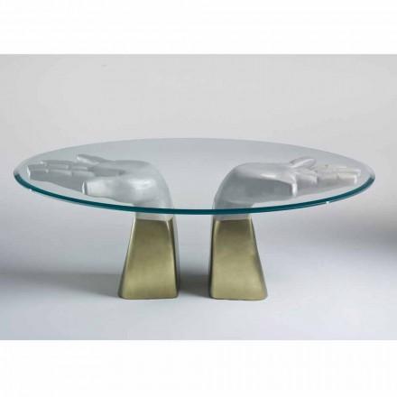 Stół do salonu z drewna i blatu szklanego, made in Italy Bartolo