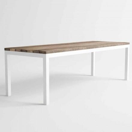 Stół do jadalni z drewna i aluminium o nowoczesnym designie - Ganges