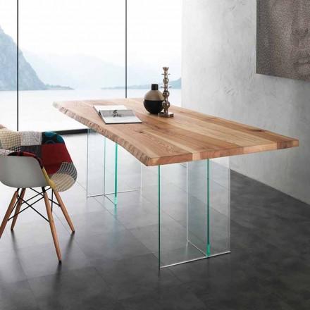 Stół z litego drewna i szkła Marlon