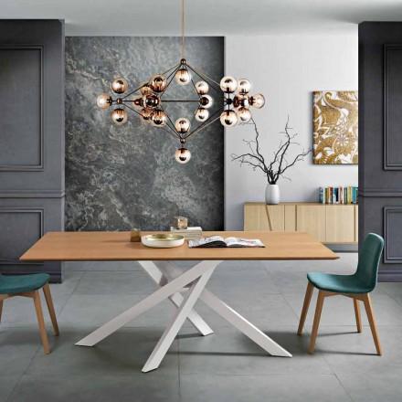 Nowoczesny stół jadalny z drewna MDF i metalu wykonany we Włoszech, Dionigi