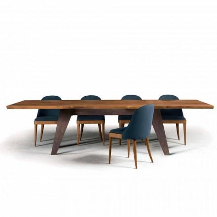 Deska z naturalnego orzecha, okorowana, drewniany stół, Antonio