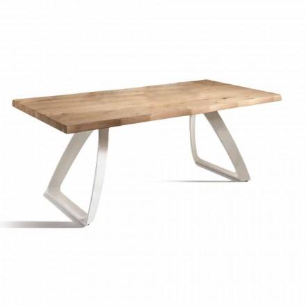 Stół do jadalni z metalu i fornirowanego dębu Made in Italy - Aryssa