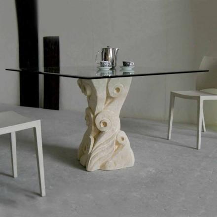 Stół z kamienia Vicenza i kryształu Giasone wyrzeźbiony ręcznie