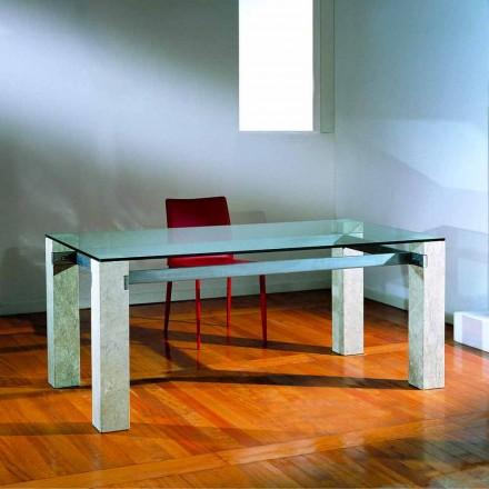 Stół wyrzeźbiony ręcznie z kamienia Vicenza i kryształu Ebea