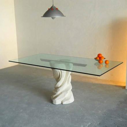 Stół z kamienia Vicenza i kryształu wyrzeźbiony ręcznie, model Urano
