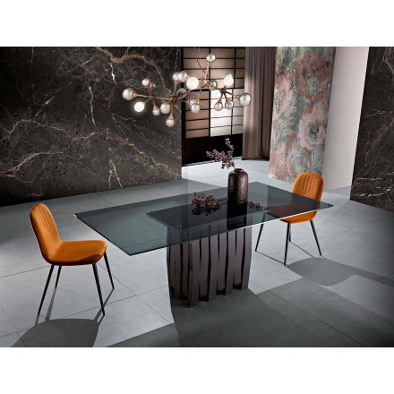 Stół ze szkła i litego drewna wykonany we Włoszech, Egisto