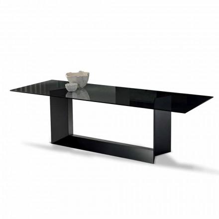 Stół do jadalni w wędzonym lub ultralekkim szkle i metalu Made in Italy - Moro