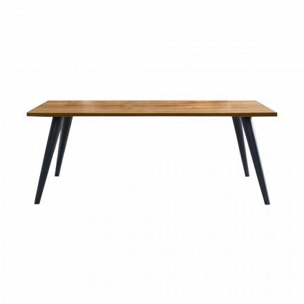 Nowoczesny stół do jadalni z drewnianym blatem i podstawą Made in Italy - Motta