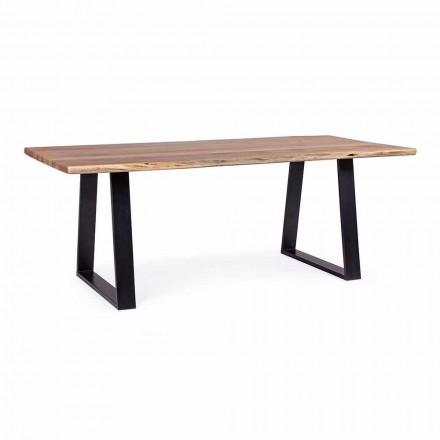 Industrialny stół do jadalni Homemotion z blatem z drewna akacjowego - Vermont
