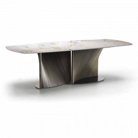 Luksusowy stół do jadalni z kamionki i drewna jesionowego Made in Italy - Croma