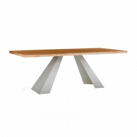 Stół do jadalni z drewna i białego metalu, wysokiej jakości wyprodukowany we Włoszech - Miuca