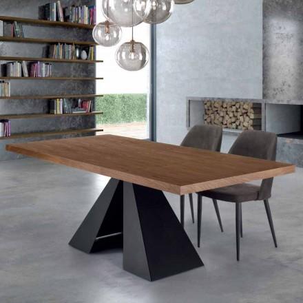 Nowoczesny stół do jadalni z drewna i stali fornirowanej Made in Italy - Dalmata