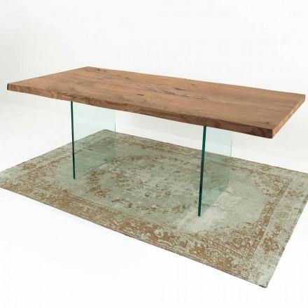 Nowoczesny stół do jadalni z drewna i szkła fornirowanego Made in Italy - Strappo