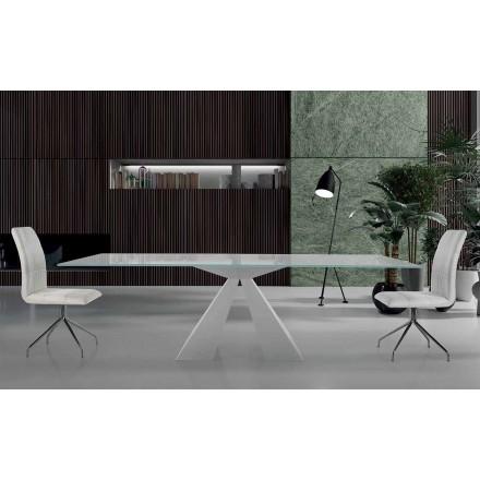 Nowoczesny stół do jadalni z białej stali i szkła Made in Italy - Dalmata