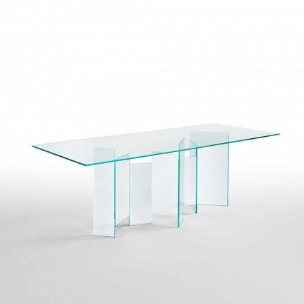 Nowoczesny stół do jadalni w świetle poziome lub wędzone szkło Made in Italy - Random