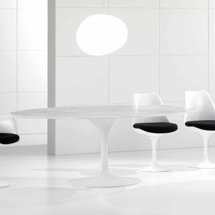 Luksusowy owalny stół, marmurowy blat z Carrary, wyprodukowany we Włoszech - Nerone