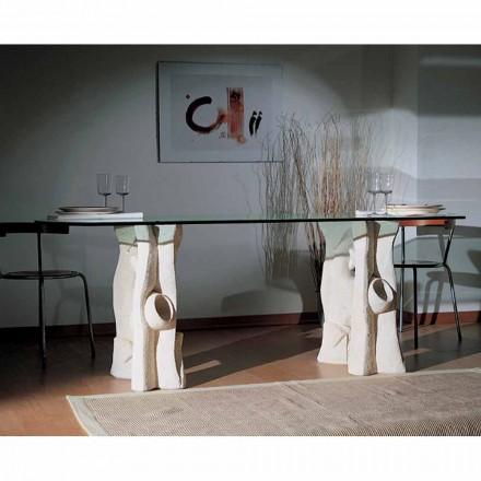 Stół wyrzeźbiony ręcznie z kamienia Vicenza i kryształu Daiana