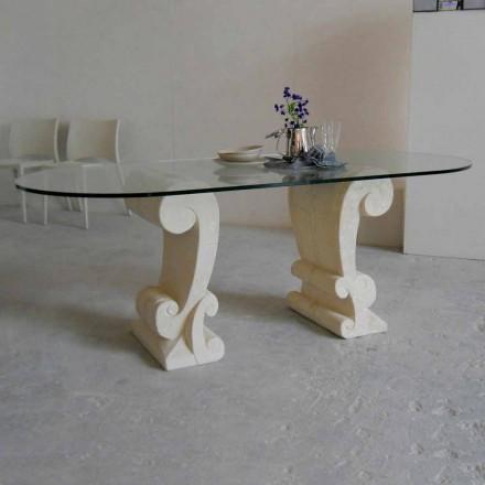 Stół owalny z kamienia Vicenza i kryształu Aracne, wyrzeźbiony ręcznie