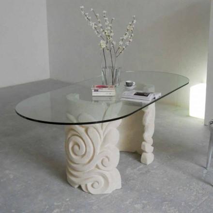 Stół owalny z kamienia Vicenza i kryształu Aden