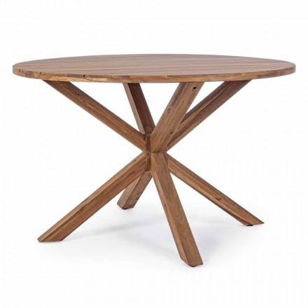 Stół ogrodowy z okrągłym blatem z drewna akacjowego - Perry