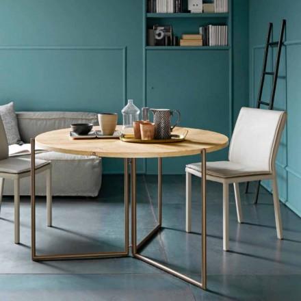 Nowoczesny składany stół z drewna i metalu Made in Italy - Menelao
