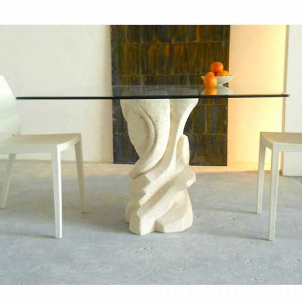 Stół kwadratowy z kamienia Vicenza i kryształu model Leda