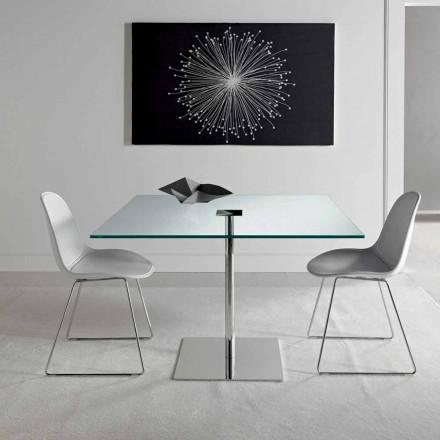 Kwadratowy stół jadalny w ultralekkim szkle i metalu Made in Italy - Dolce