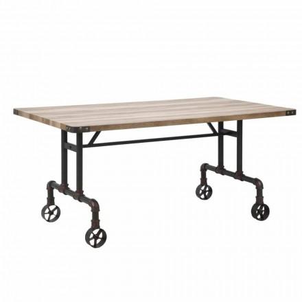 Prostokątny stół do jadalni, blat MDF i metalowa podstawa - Fabrice
