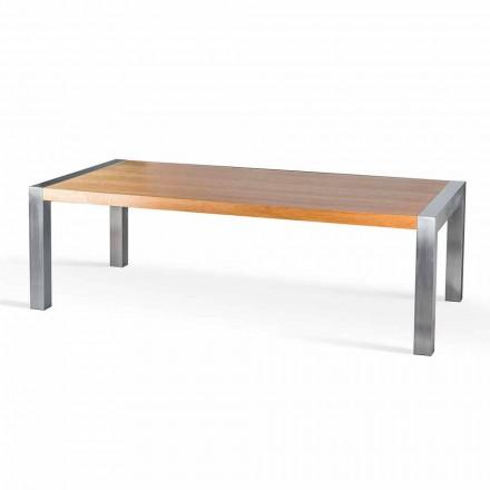 Prostokątny stół z drewna dębowego i stali Frodo